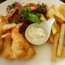 Thailand, Phuket, Katathani Hotel, Fried prawns and chips